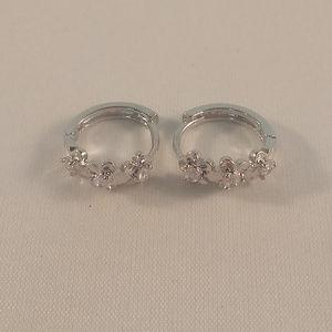 Jewelry - 18K WGF Blossom Flower Zircon Huggie Hoop Earrings
